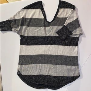Express Gray Striped Short Sleeve Sweater